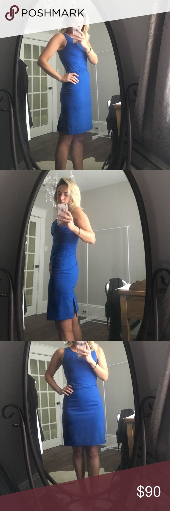 J. Crew Factory cobalt blue sleeveless dress What a beautiful color! Great for work! Fully lined, pockets are still stitched shut for a slimming silhouette. Double back slit. Bra straps stay hidden with snaps located on each strap. Brand new. Never worn...I just ripped the tags off as soon as I got it...bad habit 🙄 J. Crew Dresses Midi
