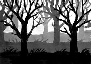 we have painted a forest of trees without preliminary drawing,...
