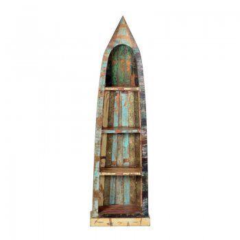 Boekenkast sloophout Lavis Otar | boot als kast | gekleurd hout