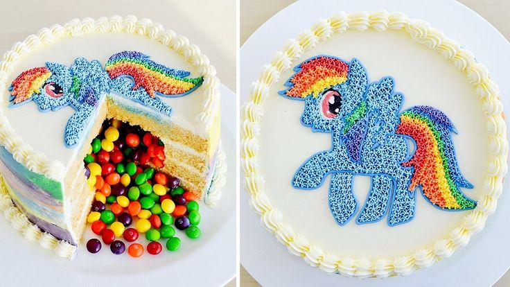 Como hacer una Torta Piñata con Rainbow Dash de Mi Pequeño Pony ✩ Tan Dulce VIDEO