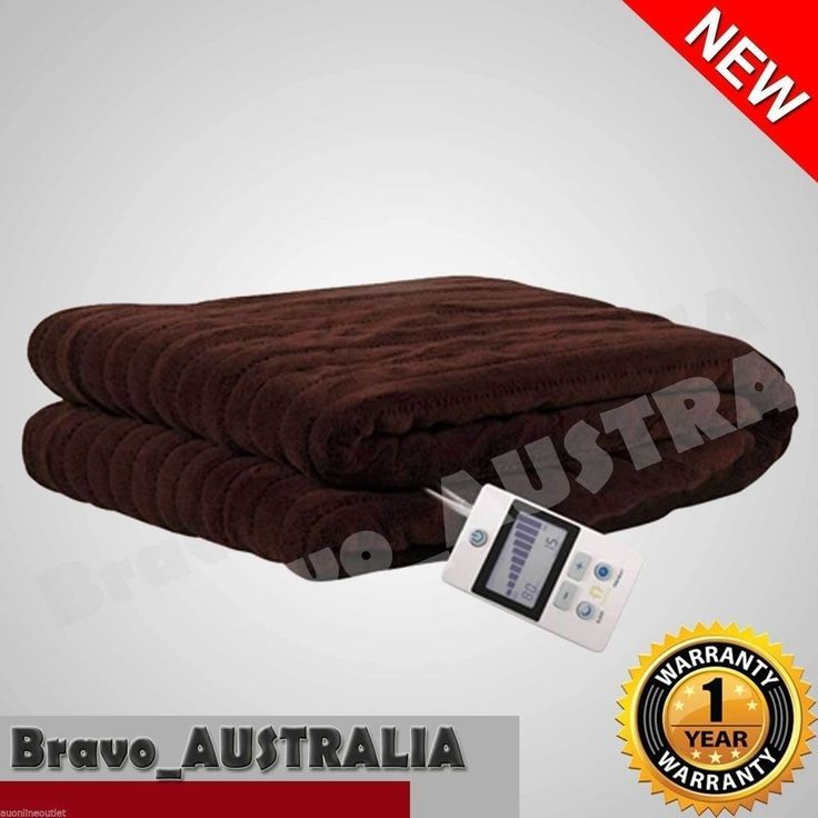 Heated Throw Rug / Electric Snuggle Blanket Machine Washable Brown 160cm x 130cm