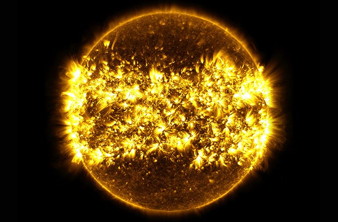 In a dramatic new composite image released by NASA, 23 high-definition observations of our nearest star have been compiled creating the mother of all solar portraits.