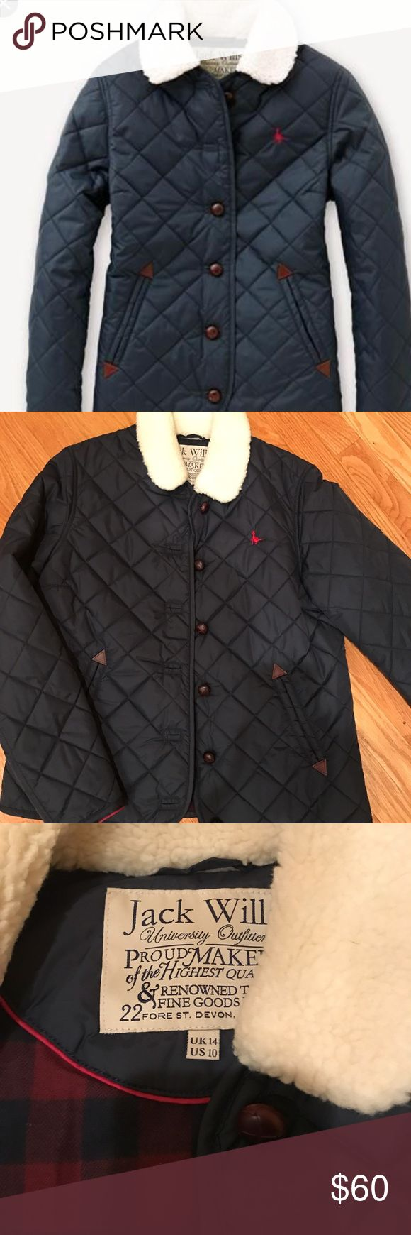"""Jack Wills Navy Blue Quilted Coat BRAND NEW NEVER WORN. Jack Wills Quilted Jacket/Coat. Red and navy blue plaid interior. 2 outside pockets and one interior pocket. Brown buttons. Size US 14. But fits more like a woman's 6or 8. (Women's Medium) I am 5'3"""" 130 lbs with a 34"""" bust and it is just a tad big on me. Jack Wills Jackets & Coats"""