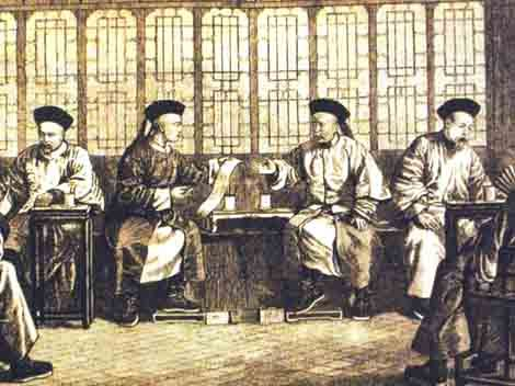 Courtiers handle government affairs in royal offices in the Imperial Palace, Beijing. All are wearing court clothes and hats decorated with feathers.