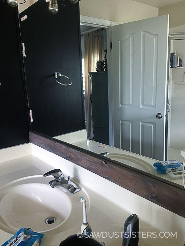 Diy Stick On Mirror Frame In 2020 Bathroom Mirrors Diy Bathroom