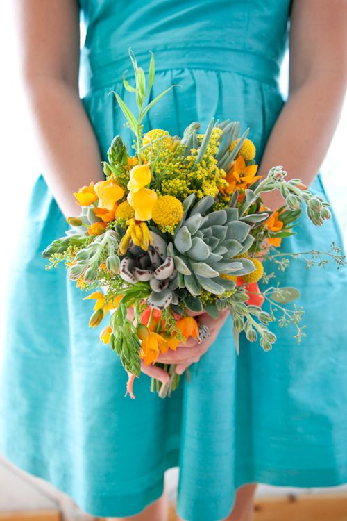 Turquoise and yellow wedding bouquet #succulent #bridalbouquet #weddingflowers