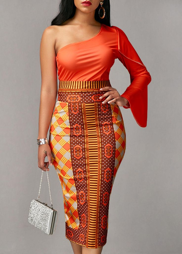 Long Sleeve Orange Top And Printed Sheath Skirt Orange