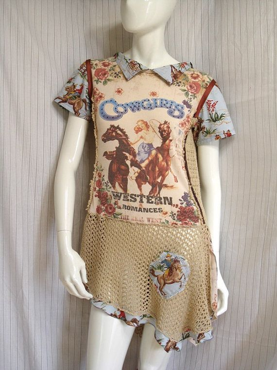 Western cowgirl reconstructed t shirt  altered couture by natatusy, $46.00