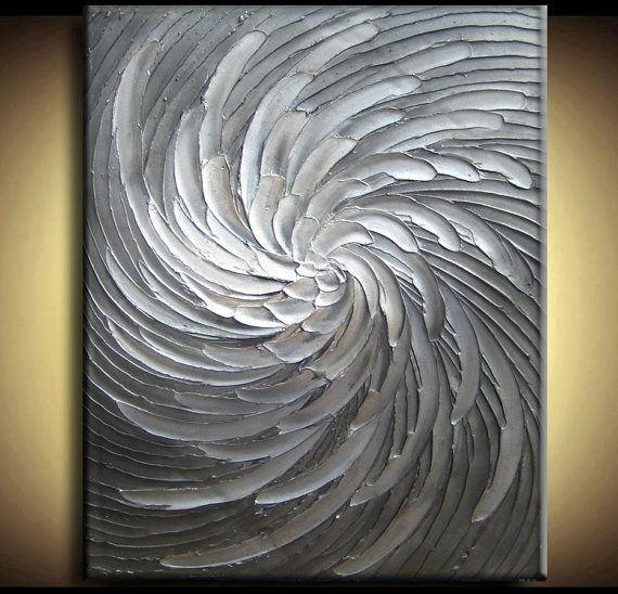 Abstract Textured Painting 34 x 44 Custom Original Heavy Impasto White Silver Gray Black Floral Oil by Je Hlobik