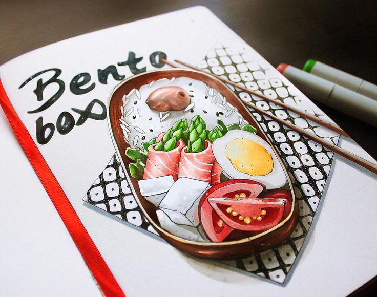 """Bento box  Странная  штука на рисе- это умэбоси, солено-квашеный плод абрикоса, приправа, используемая в японской кухне. Рубрика """"кул стори"""" снова в действии  5/8 #lk_sketchflashmob @art_markers, #copic, #copicart, #copicmarker, #leuchtturm1917, #illustration, #sketch, #sketchbook, #art, #food, #box, #bentobox, #bento, #tomato, #egg, #salmon, #umeboshi"""