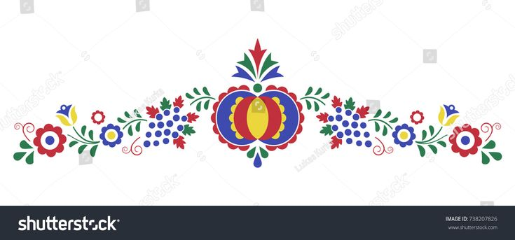 Traditional folk ornament, the Moravian ornament from region Slovacko, floral embroidery symbol isolated on white background, vector illustration