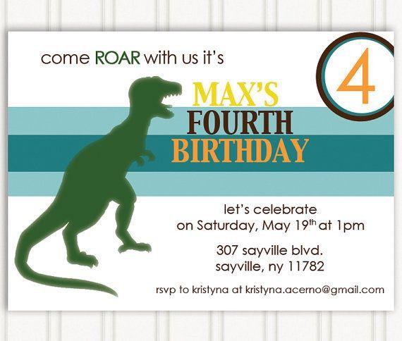 49 best dinosaur 3rd birthday party images on pinterest | dinosaur, Birthday invitations