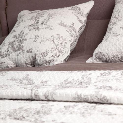 couvre lit boutis toile de jouy blanc harmony d co. Black Bedroom Furniture Sets. Home Design Ideas