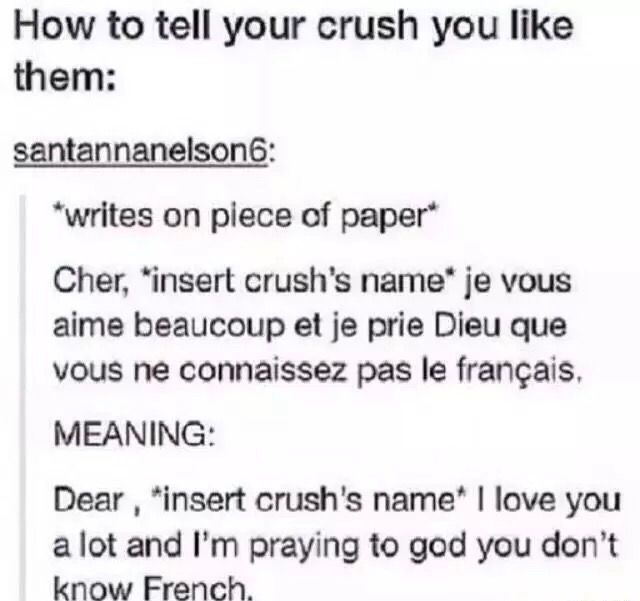 I would probably ask if he knew French first and then if he says no I'd give it to him