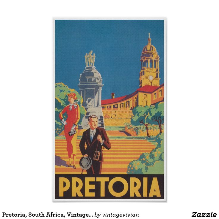 Pretoria, South Africa, Vintage Travel Poster