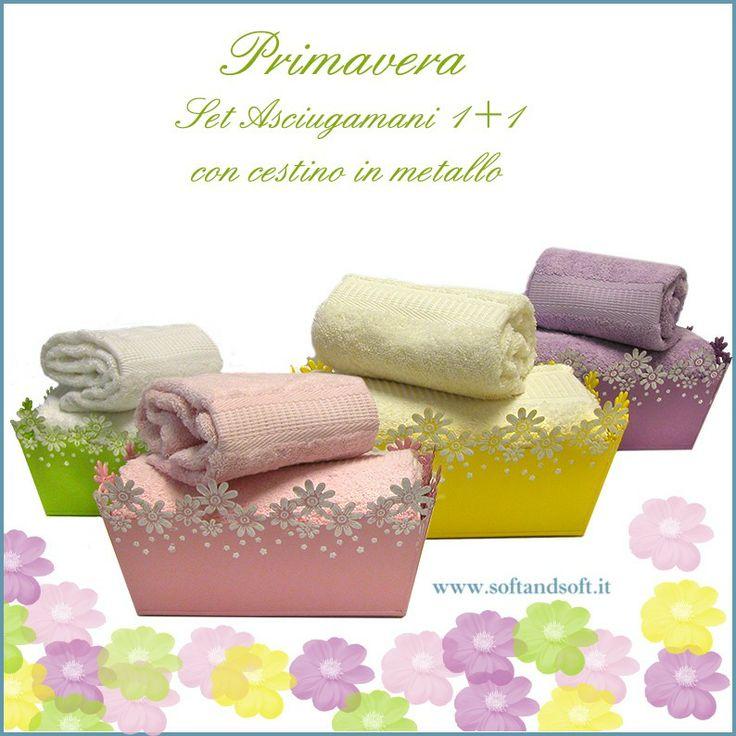 Primavera set asciugamani 1+1 con cestino in metallo intarsiato