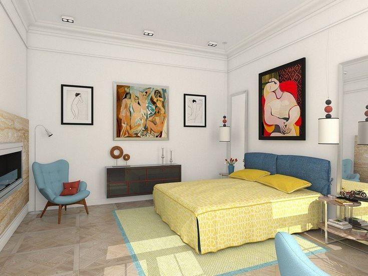 chambre-blanche-eclectique-tableaux-picasso-lit-jaune-bleu