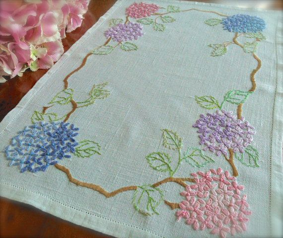 Check out this item in my Etsy shop https://www.etsy.com/uk/listing/498266323/hand-embroidered-hydrangea-vintage-linen