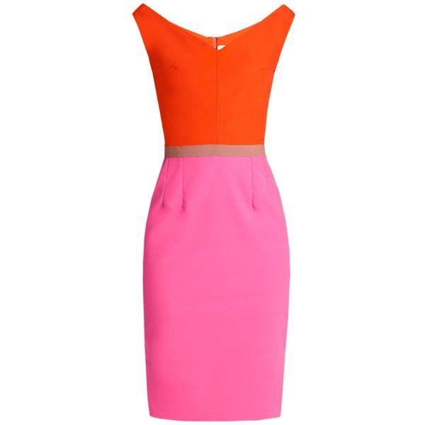 Emilio De La Morena Olena block-colour silk-blend dress ($790) ❤ liked on Polyvore featuring dresses, orange multi, block print dresses, fuschia dress, pink color block dress, fuchsia dress and emilio de la morena
