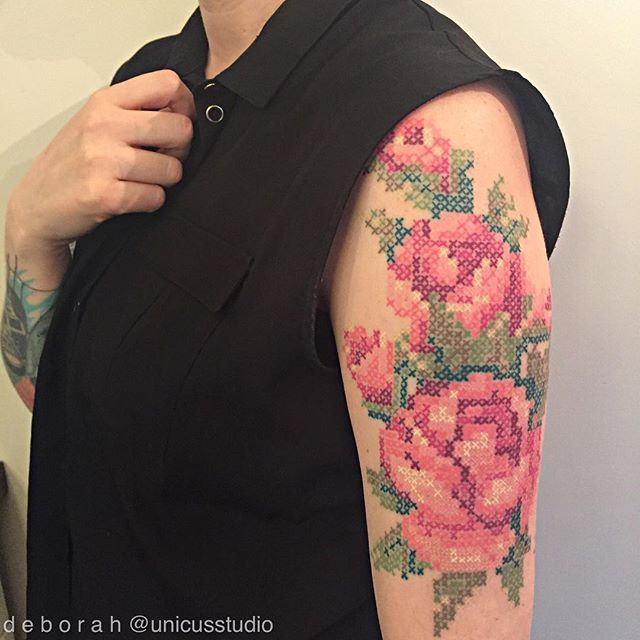 Cross stitch rose tattoo. #unicusstudio