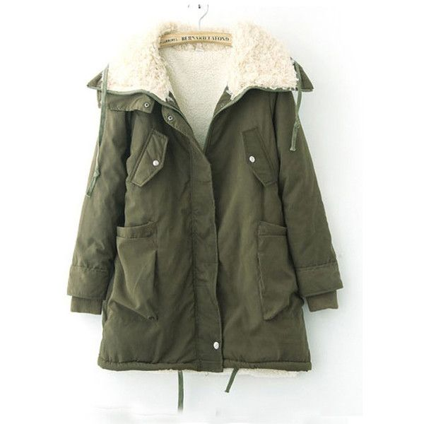 Sherpa Lapel Long Sleeve Warm Coat Green$97.00 ($55) ❤ liked on Polyvore