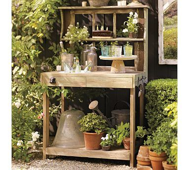 All gardening goddesses should have a gardening station. It's a place to store things and do potting.
