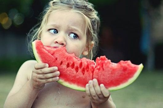 This would be a perfect picture of autumn. She LOVES watermelon!