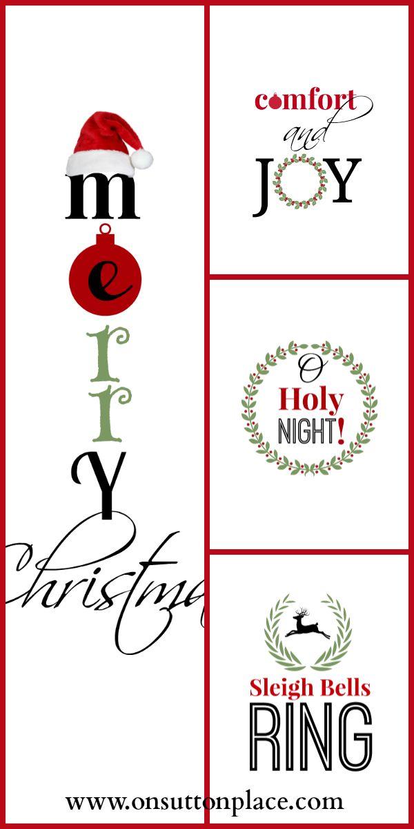 Free Christmas printables to make DIY inexpensive wall art.