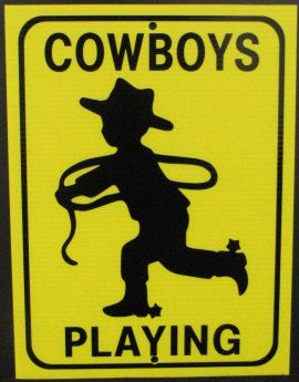 Coroplast Cowboy Playing Small Sign