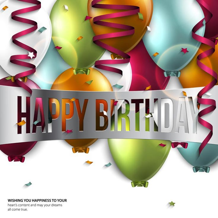 Vector birthday card with balloons and birthday text.