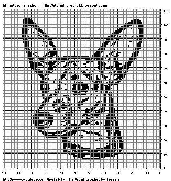 Free Filet Crochet Charts and Patterns: Miniature Pinscher in Filet Crochet                                                                                                                                                      More
