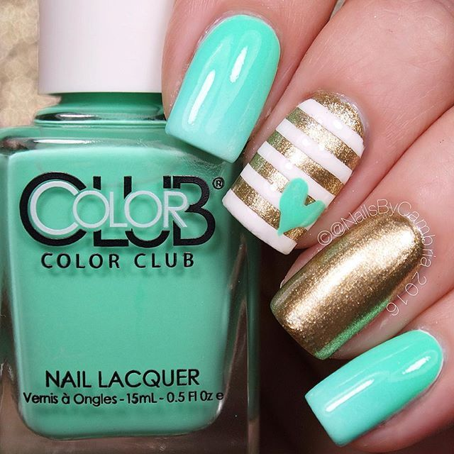 Tiffany Blue and Gold Nautical Nails