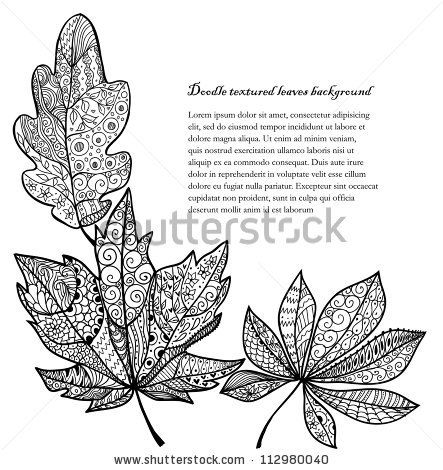 Doodle textured leaves corner background. by Fears, via ShutterStock