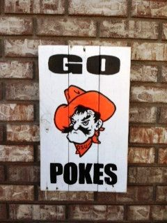 "OSU ""Go Pokes"", Pistol Pete, Reclaimed, Recycled, wood sign, hand made, hand painted on Etsy, $35.00"