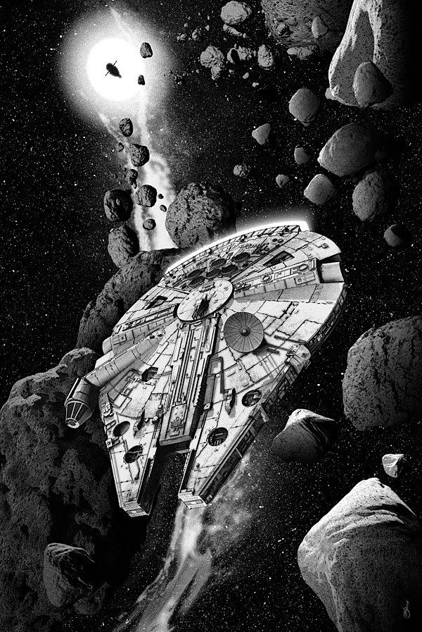 Star Wars - Millennium Falcon and Slave I by Chris Skinner *