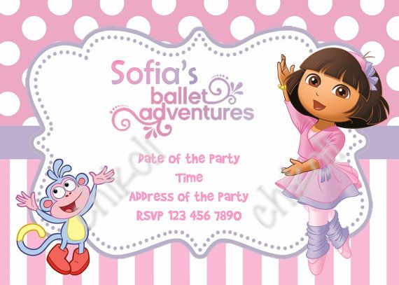 24 b sta bilderna om Dora the Explorer Birthday party p Pinterest – Dora Party Invites