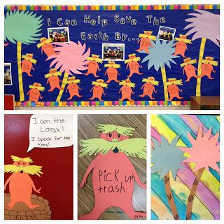 """Earth Day is a great time to read your students """"The Lorax"""" by Dr. Seuss.  This teacher chose """"I Can Help Save the Earth By ..."""" as the title of her Earth Day bulletin board display.  She had students write their answers inside cute Lorax templates."""