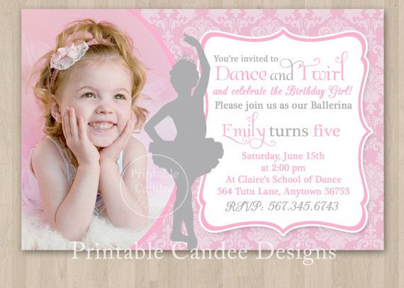 Princess Ballerina Birthday Invitation Diy Custom