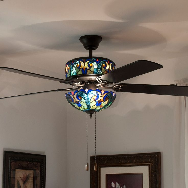 Ceiling Fans With Stained Glass: $198.02 - 432-306 - Tiffany-Style 52' Halston Double Lit Stained. 52  HalstonHalston DoubleStained Glass Ceiling FanLit ...,Lighting