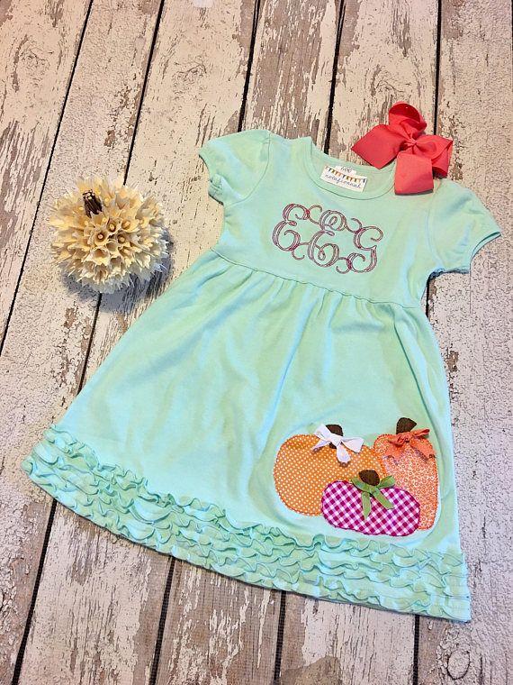 Girls pumpkin dress girls mint pumpkin dress pumpkin outfit