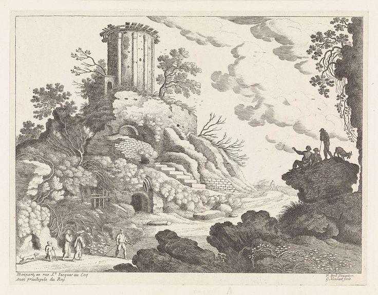 Willem van Nieulandt (II) | Landschap met de ruïne van een tempel, Willem van Nieulandt (II), H. Bonnart, Lodewijk XIV (koning van Frankrijk), 1594 - 1635 | Een Italiaans landschap met links op een heuvel de ruïne van een ronde tempel, wellicht de tempel van de Sibille in Tivoli. Links op de voorgrond lopen een man, twee vrouwen, een kind en een hond. Links op een rotsblok drie herders en een geit.