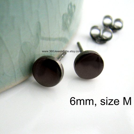 6mm Black Stud Round Disc Earrings Cheater Plugs Men S Fake Gauge Male Nail It Down Medium 420 6sb