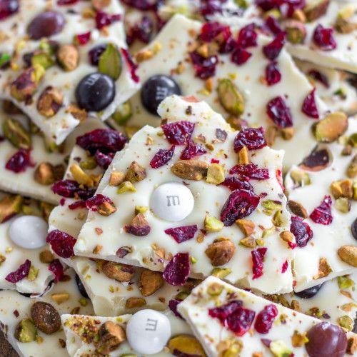 Cranberry White Chocolate Pistachio Bark