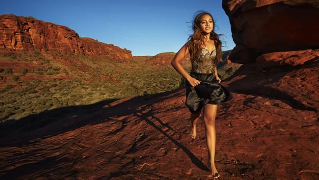 Jessica Mauboy shines in the outback near Alice Springs on her first fashion cover shoot for Instyle magazine. Finke Gorge National Park, Northern Territory Australia via InStyle Magazine. Photographed by Justin Ridler. @InStyle
