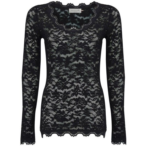 Rosemunde Delicia Lace Top - Black (6,225 INR) ❤ liked on Polyvore featuring tops, black, sheer lace top, cami top, transparent top, sheer tops and see through tops