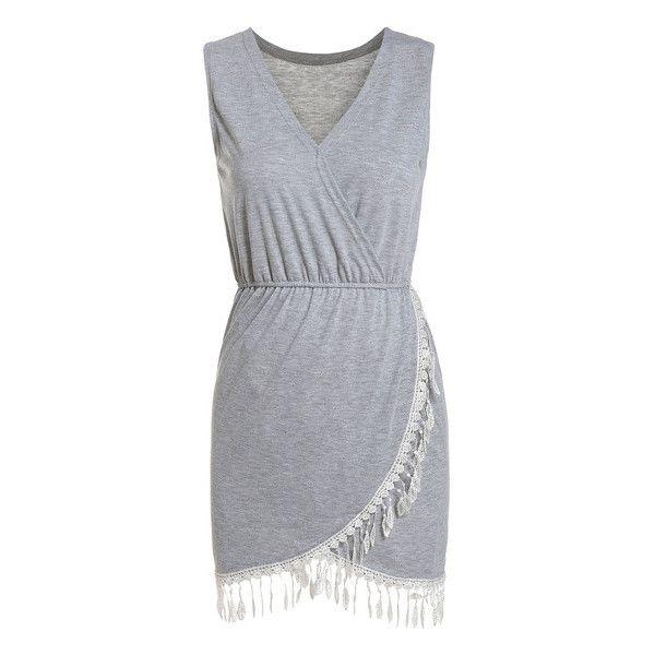 SheIn(sheinside) Grey V Neck Sleeveless Tassel Slim Dress ($13) ❤ liked on Polyvore featuring dresses, vestidos, sheinside, robes, grey, short dresses, v neck dress, slimming dresses, short sleeveless dress and cotton summer dresses