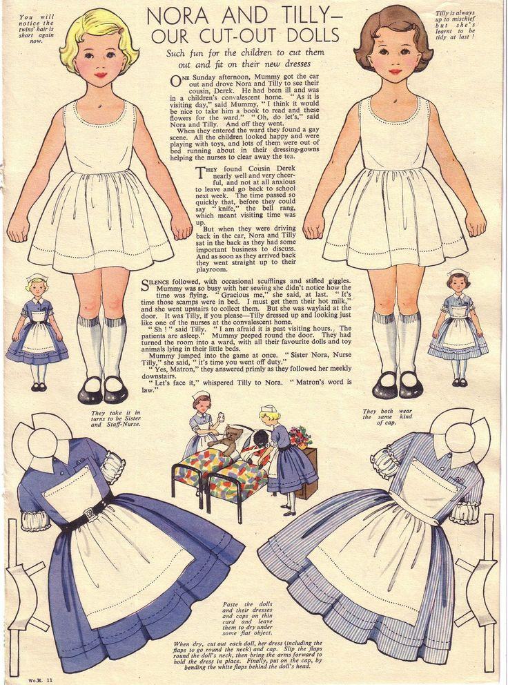 Nora & Tilly paper dolls, Nov 1956