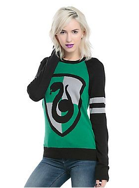 Perfect for staying warm at Quidditch games // Harry Potter Slytherin Intarsia Girls Pullover Top