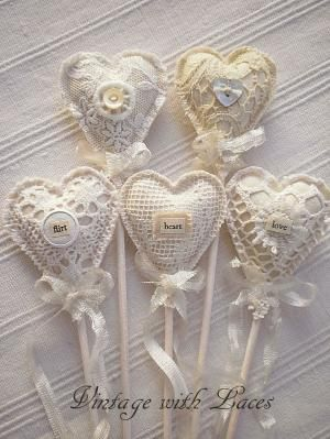 The sweetest Fabric and Lace Heart Picks! by andrea