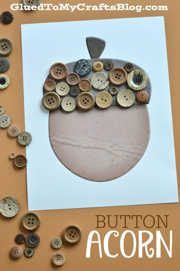 Button Acorn Kid Craft w/free printable template
